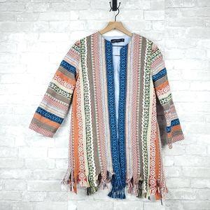 Zara tribal pattern tassel fringe coat | Size S